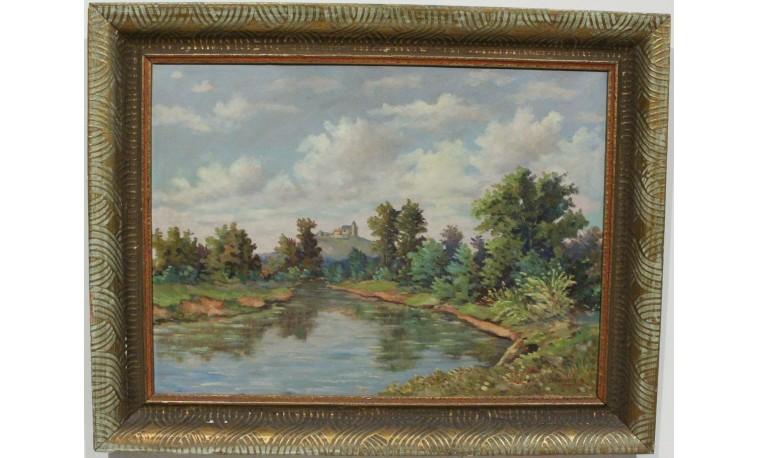 Ko87 - Obraz Krajina s rybníkem a hradem
